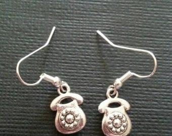 Silver Retro Telephone Earrings