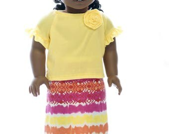 18 inch doll clothes fits American Girl Maxi Skirt, Maxi Skirt for 18 inch dolls, 18 inch doll clothes, AG doll gift, Doll skirt and shirt