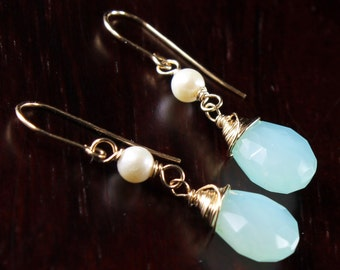Peruvian Chalcedony Earrings, Gold filled wire wrap, White Freshwater Pearls, fine gold earrings, aqua blue gemstone, gift for her