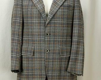 70s  mens suit Plaid jacket Wool gray flared pants Retro clothing 38 Small Vintage blazer Kitch wide lapel sport coat 2 piece suit 38S