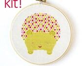 Modern Cross Stitch Kit, DIY Kit, Embroidery Kit, Hedgehog in Pink and Green, Easy Cross Stitch, Beginner Pattern, Nursery Decor