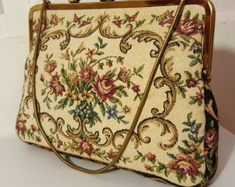 WESTERN GERMANY PURSE // 40's Vintage Tapestry Brocade Knit Floral Victorian Clutch Gold Geometric Frame 50's Floral Flowers