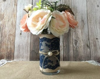 burlap and navy lace covered glass vase, wedding, bridal shower, baby shower, home decoration