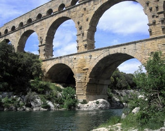 Original Photograph (Matted): Pont du Gard - Southern France