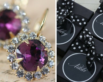 Purple Gold Bridesmaid Earrings Set of 3 4 5 6 7 8 9 10 Pairs Bridal Party Earrings Gift Plum Bridesmaid Jewelry Amethyst Personalized Box