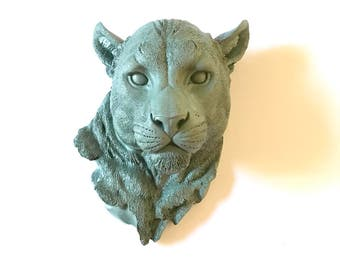 Faux Taxidermy Large Panther in SAGE / Faux animal head / faux taxidermie large animal head / animal wall hanging wall mount / office wall