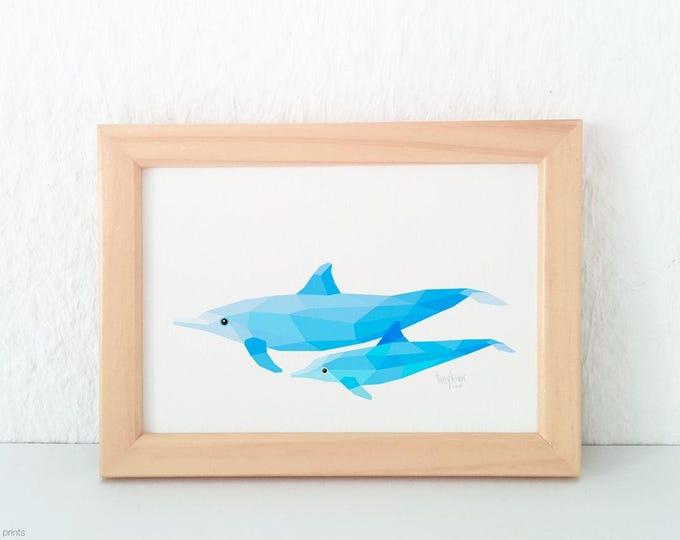 Dolphin nursery print, Dolphin pair, Mother and baby dolphin, Sea side art, Geometric dolphin, Beach theme, Sea creatures, Nursery art baby
