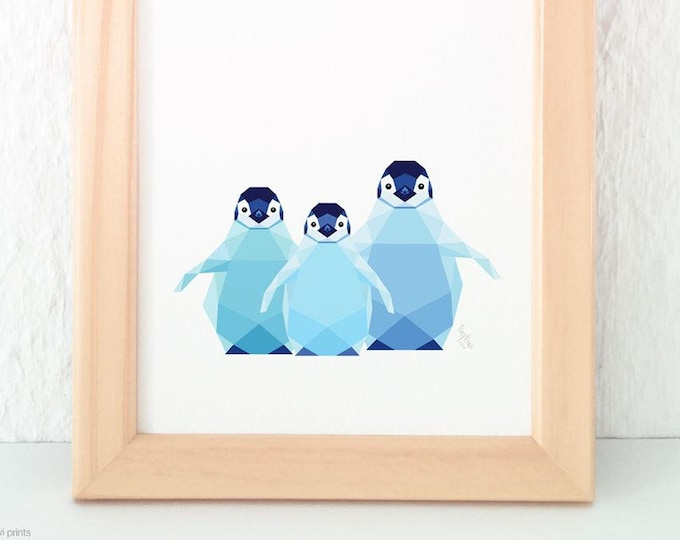 Baby penguin print, Baby penguins, Art for siblings, Geometric penguin, Print for baby, Baby wall art, Kids nursery art, Antartica wildlife