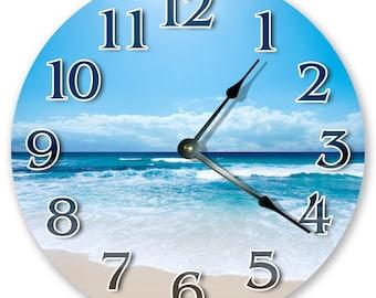 "10.5"" BLUE OCEAN SHORELINE Clock - Nautical Clock - Round Wall Clock - Beach Clock - Large 10.5"" Wall Clock - Home Decor - 3214"