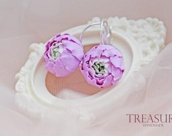 Purple flower earrings, purple earrings, purple flowers, floral earrings, handmade earrings, leverback earrings, purple rose earrings, peony