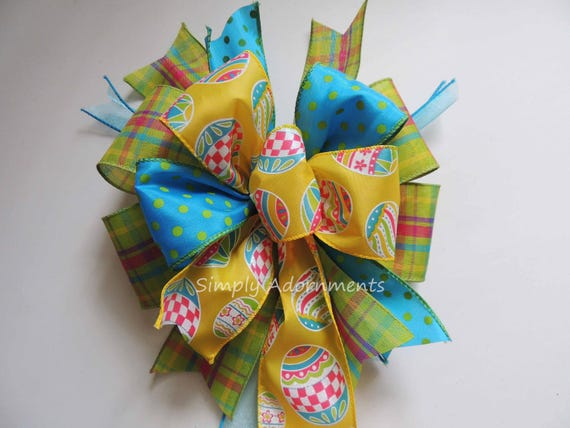 Turquoise Yellow Easter  Lantern Swag Bow Funky Lime Yellow Plaid bow Yellow Lime Turquoise Easter Gift Basket Bow Easter Door hanger Bow