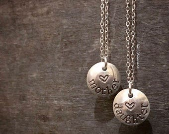 Set of 2 Sterling Silver Necklaces - Mother Daughter - Matching Set - Hand Stamped Mother's Day Gift - Personalized - Custom - Made in USA