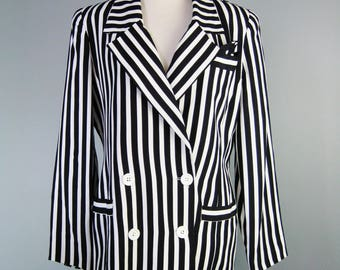 Black and White Striped Blazer  / Vtg 80s / Lillie Rubin Vertical Stripes Black and White Blazer / Size Large /