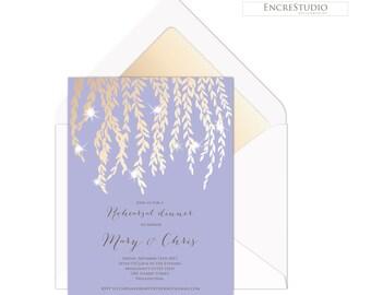 Rehearsal dinner invitation -   Lavender and Gold rehearsal dinner invitation, Gold Leaves, Tuscany Wedding Rehearsal Invitation