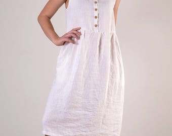 White, pin striped, sleeveless, button up linen midi dress