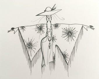 fashion art - boho decor - illustration - ink pen drawing - hippie art