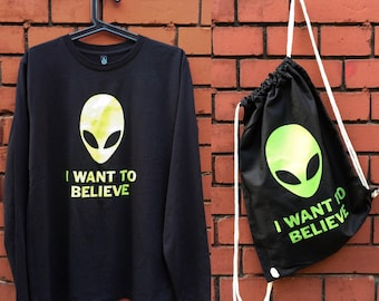 SALE // I want to believe - Screen printed Long/Bag