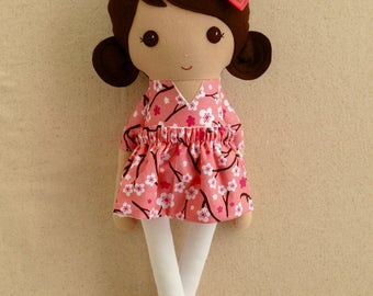 Fabric Doll Rag Doll Brown Haired Girl in Pink and Coral Floral Dress with Coral Shoes