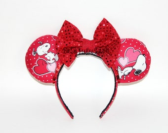 Snoopy Mouse Ears || Valentine's Day Mouse Ears || by Born Tutu Rock