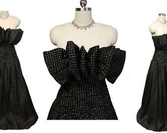 Vintage Designer Huge Bow Bodice Silk Evening Gown Prom Formal vintage dress vintage evening gown designer evening gown black evening gown