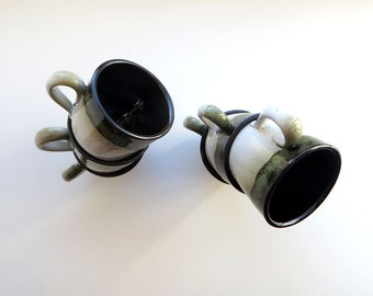 Vintage Cup Set Coffee Tea Serving Set Handmade Vintage Clay Cups Soviet Union Pottery Set of 6 Tiny Green Beige Forest Theme Mugs