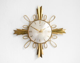 RESERVED Starburst clock, brass sunburst clock, Palmtag sunburst clock, Mid-Century Modern MCM