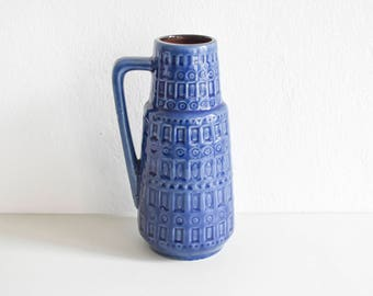 Scheurich Inka vase, blue Inka vase, West German pottery, Inka wgp 1970 Scheurich Mid-Century