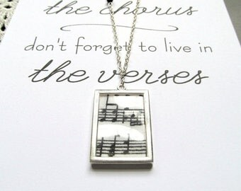 "Music Notes Long Silver Necklace - Black White Music Lover Necklace with 5x7"" Print - Music Gift Set"