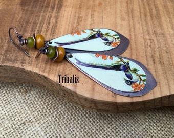 Rustic Tin Jewelry Tribal *Birds* earrings n28- Bird Motif Mystic Colorful Vintage Rare Tin Jewelry . Festive Long  Exotic Bird