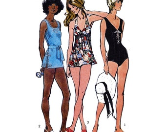 """1972 3 Classic Swimsuits: 1-Piece with Lace Tie Detail, Boy Shorts styles, Halter/Tank Tops, Trim Detail Transfers, Simplicity 5027 Bust 40"""""""