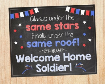 Welcome Home Deployment Sign. PRINTABLE homecoming poster. welcome back soldier military DIGITAL