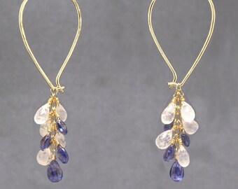 Teardrop cluster gemstone hoop earrings moonstone, iolite Carnivale 46