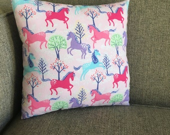 "Horses in Teal, Pinks & Purple on Pale Pink with Purple Pinhead Backing - ""Colorful Horses Pillow"""