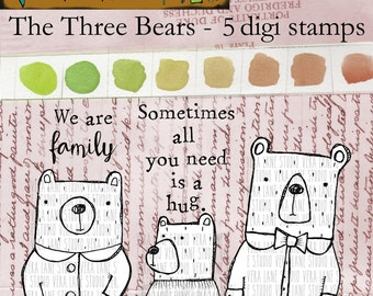 The Three Bears - 5 digi stamps