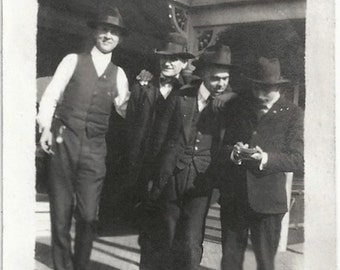 Old Photo Men wearing Suits and Hats 1920s Photograph Snapshot vintage
