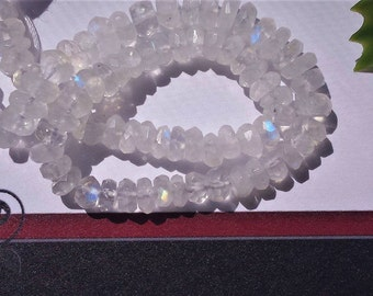 SALE Natural Rainbow Moonstone Faceted Rondelle Beads, 4mm or 5 mm, Garde: AAA, 13 inch strand