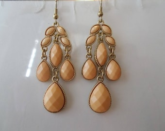Peachy/Pink and Gold Tone Chandelier Earrings with Peach Teardrop Dangles