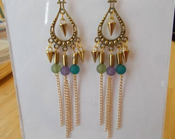 Gold Tone Chandelier Earrings with Gold Chain and Blue, Purple Yellow Bead Dangles