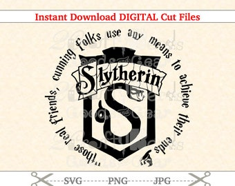 Make Your Own Harry Potter Slytherin Crest House Quote PNG SVG JPG Cutting file Cutter Silhouette Cricut Stencil Project Vinyl CUT023