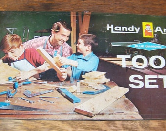 Vintage Handy Andy Toy Tool Box Set with Tools.Vintage Handy Andy Tool Set.Vintage Building Toy.Building and Construction Toy.Childs Toolbox