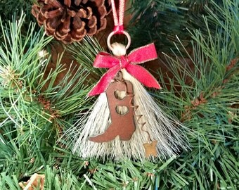 Rustic Primitive Metal Cutout Cowboy Cowgirl Boot on Horsehair Tassel Christmas Holiday Ornament with Star