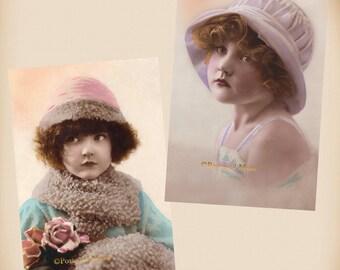 Art Deco Girl - 2 New 4x6 Vintage Postcard Image Photo Prints - CD06-13