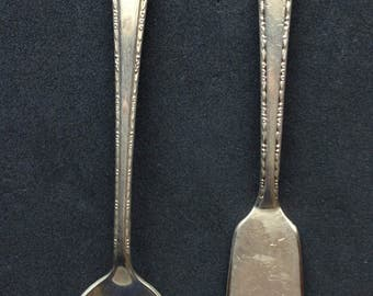 Silverplate Serving Pieces Butter Knife Sugar Spoon Holmes & Edwards 1930s
