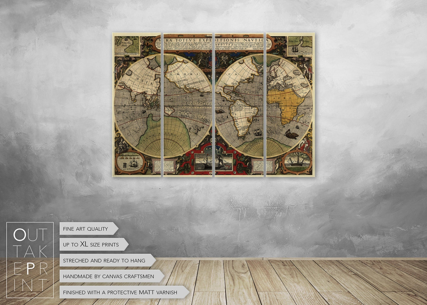 Large Vintage Wall Decor : Vintage world map large canvas wall decor ready to hang