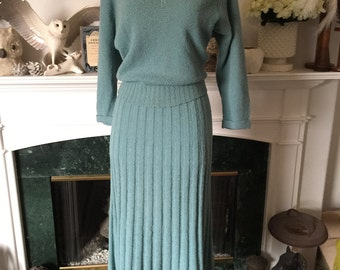 50s Turquoise Sweater Dress Set