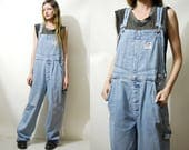90s Vintage DENIM OVERALLS Soft Faded Coveralls Pale Blue Jean Baggy Oversized Bib and Brace One Piece Boho Bohemian Grunge 1990s vtg M