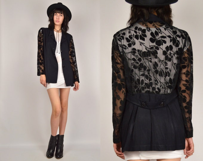 Vintage Long Black Blazer Lightweight Sheer Floral sleeves