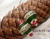 Christmas earrings, xmas earrings, holiday earrings, bauble earrings, holly green earrings, green red earrings, Christmas jewelllery