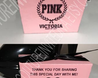 DIY Pink Favor Box; Personalized Favor Boxes