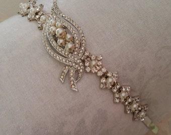 VINTAGE CRYSTAL LEAF Bridal Bride Headband Silver Elegant Classic Hollywood Fall Wedding Rustic Outdoor Lover Cottage Chic One of a Kind